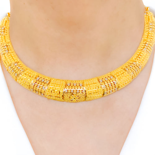 Two-tone Choker Style Necklace Set