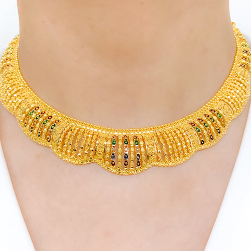 Meena Accented Choker Style Necklace Set