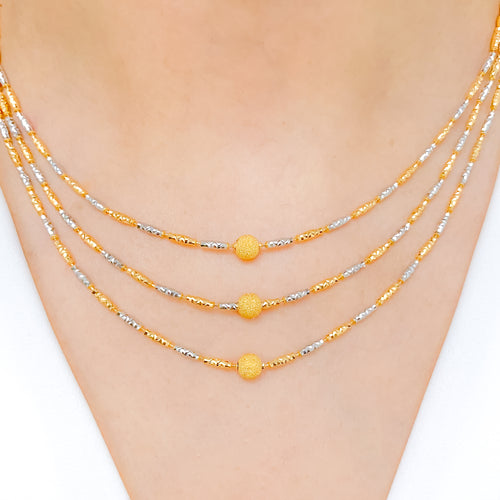 Alternating Two-Tone Necklace Set