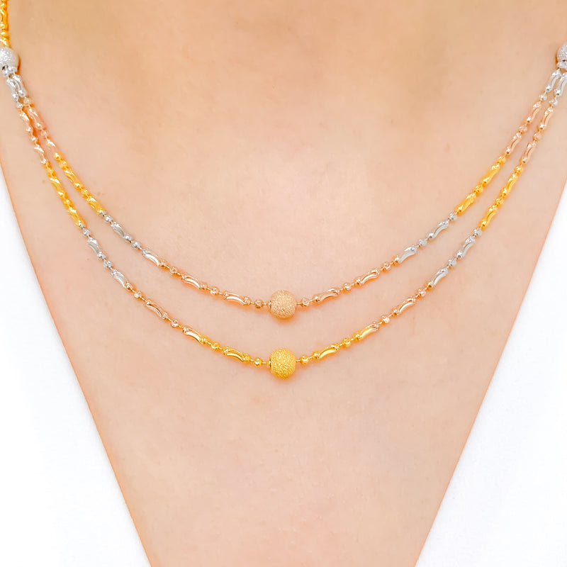 Stylish Three-Tone Necklace Set