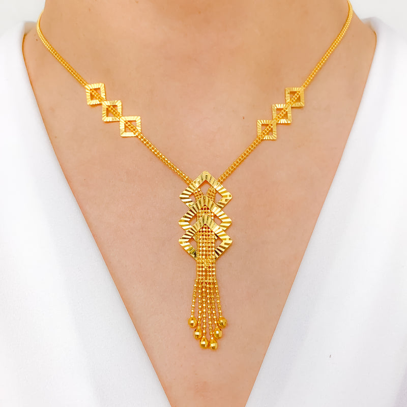 Modern Square Cut-out Necklace Set