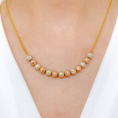 Three-Tone Gold Bead Necklace Set