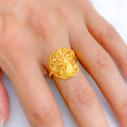 Budding Flower CZ Ring