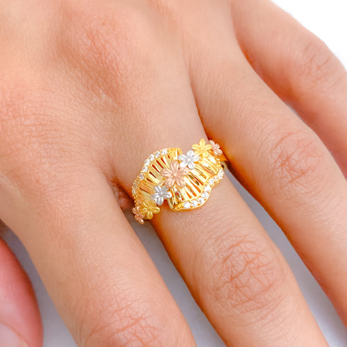 Beautiful Flower Three-Tone Ring