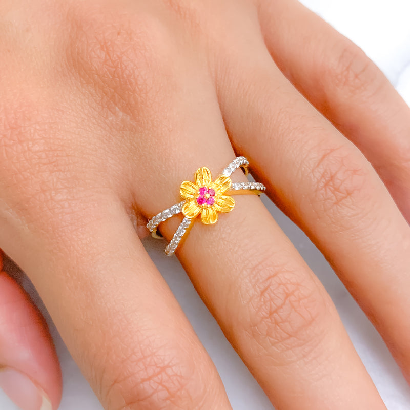 Accented Red Flower CZ Ring