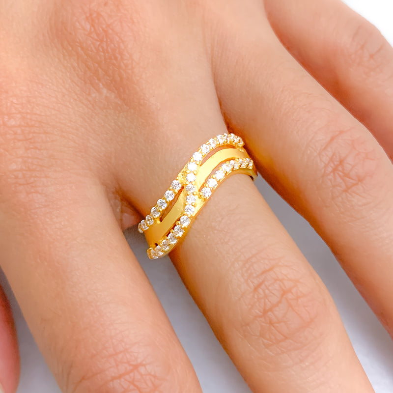 Double Wave Matte CZ Ring
