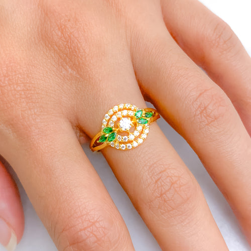 Elegant Green Accented CZ Ring