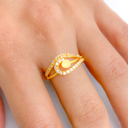 Charming Matte Finish CZ Ring