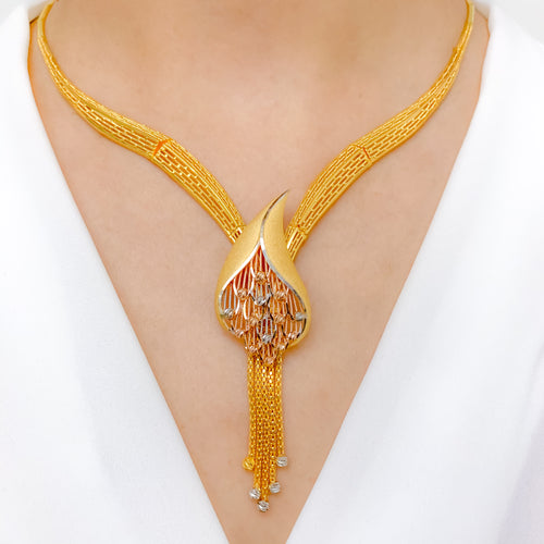 Dazzling Three-Tone Modern Necklace Set