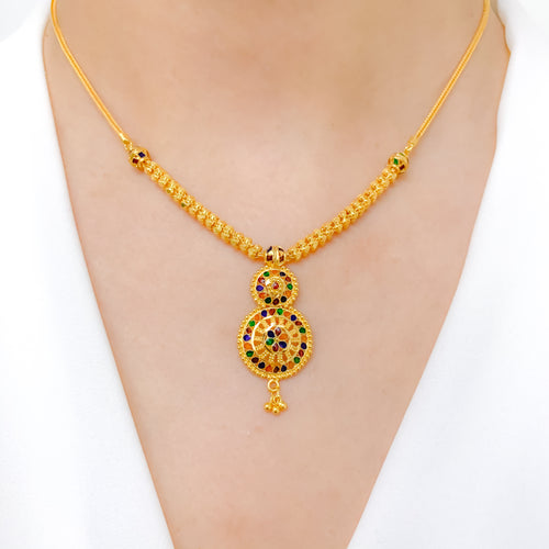 Sophisticated Round Meena Necklace Set