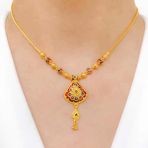 Delicate Meena Drop Necklace Set