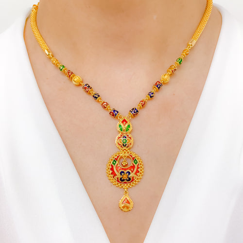 Hanging Chand Meena Necklace Set
