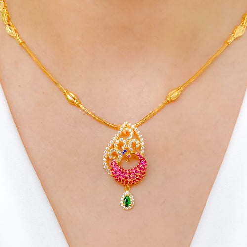 Charming Peacock CZ Necklace Set