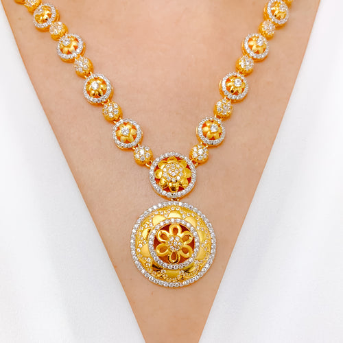 Floral Halo CZ Necklace Set