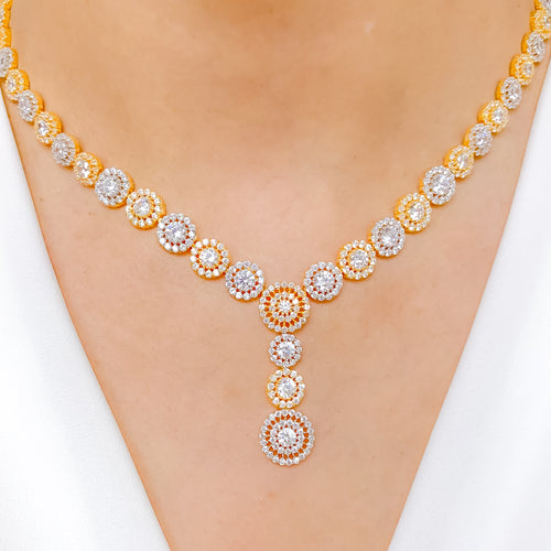 Shimmering Halo CZ Necklace Set