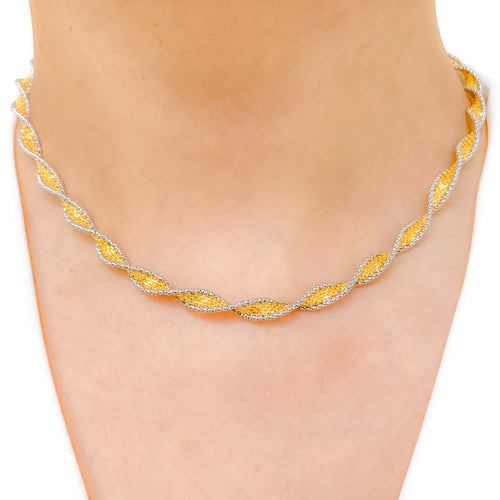 Twisted Yellow + White Gold Necklace