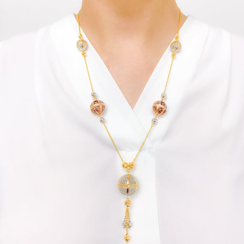 Elegant Three-Tone Hollow Bead Gold Necklace