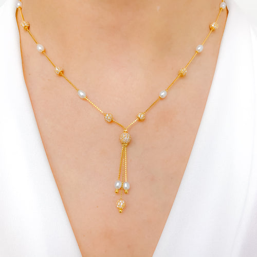 Three Tassel CZ + Pearl Necklace
