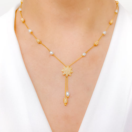 Flower Drop CZ + Pearl Necklace
