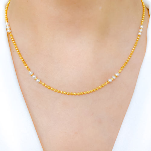 Classic Gold + Pearl Necklace