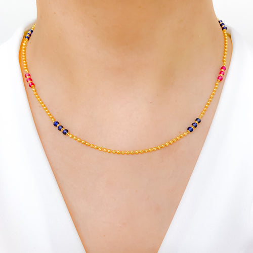 Elegant Gold + Colored Accent Necklace