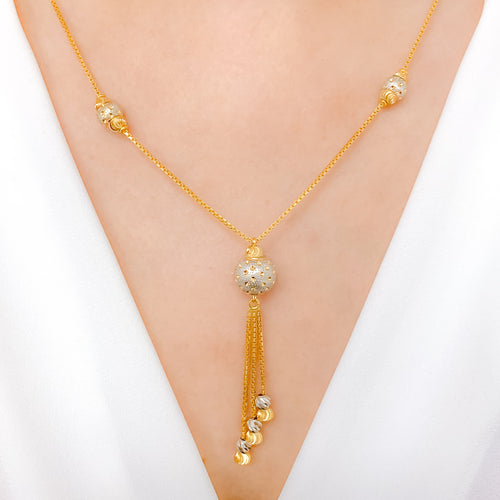Sparkling Three Tassel Necklace