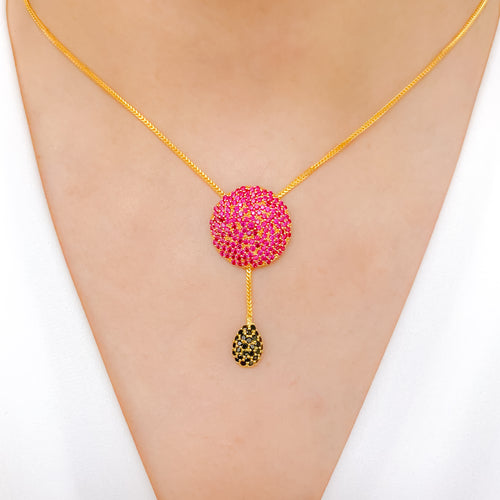 Dressy Red CZ Pendant with a Tassel Necklace
