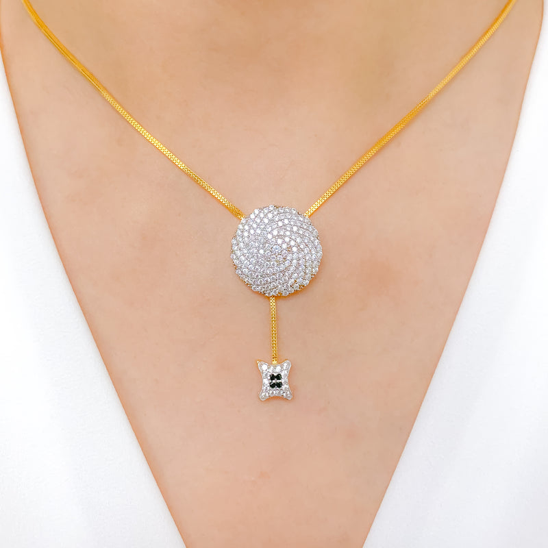 Classy CZ Pendant with a Tassel Necklace