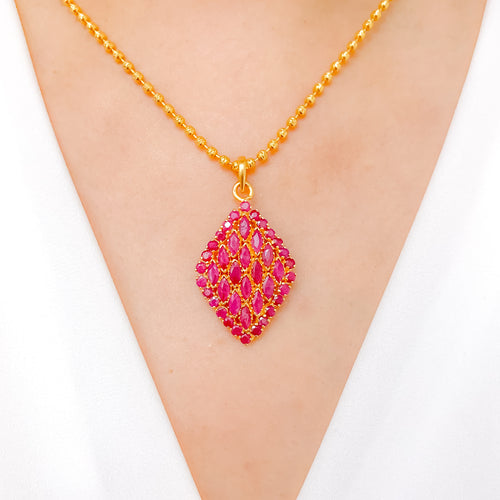 Graceful Ruby Pendant Set