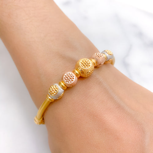 Jazzy Three Tone Bangle Bracelet