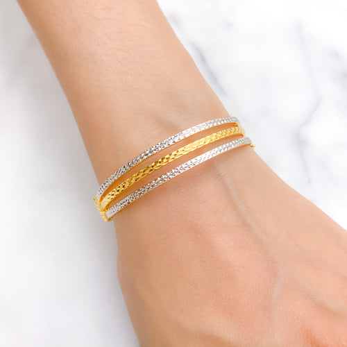 Three Line Pipe Bangle Bracelet