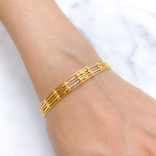 Modern Three Tone Bangle Bracelet