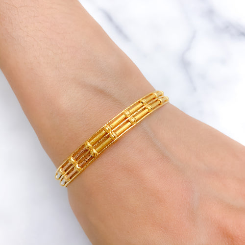 Modern Three Tone Wire Bangle Bracelet