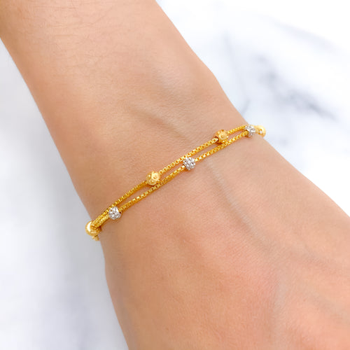 Chic Two Tone Two Chain Bracelet