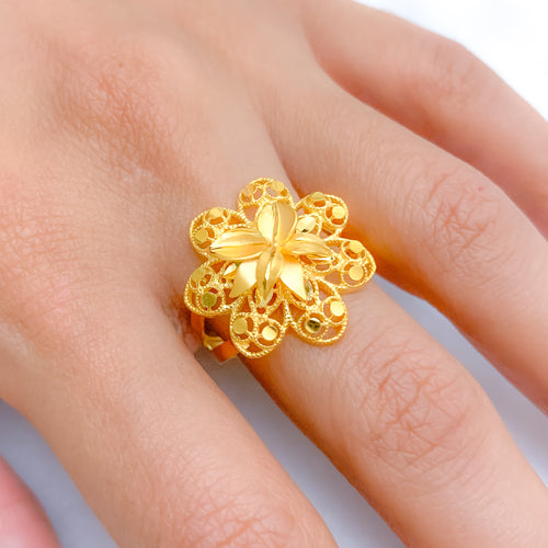 Contemporary Matte Floral Ring