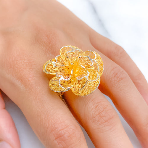 Elevated Three-Tone Floral Ring