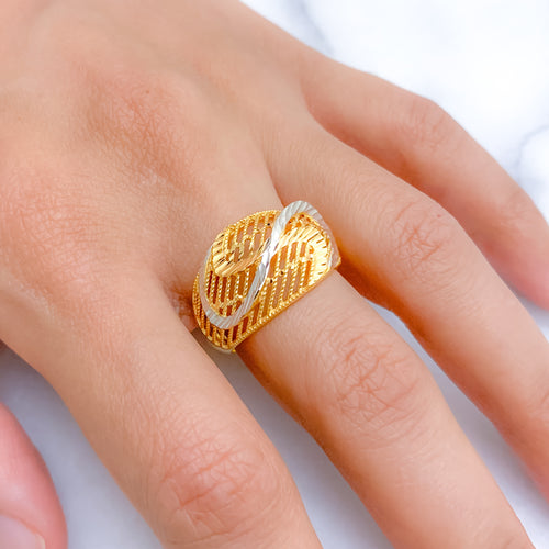 Statement Swirl Two-Tone Ring