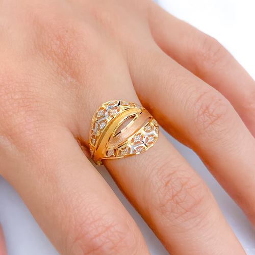Dressy Matte Three-Tone Ring
