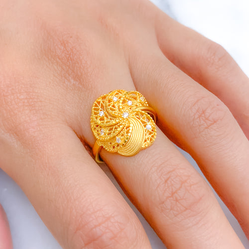 Unique Swirling Floral Ring