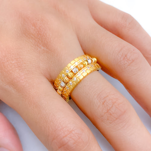 Fancy Beaded Two-Tone Ring