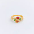 Everyday Red + Green Accented CZ Ring