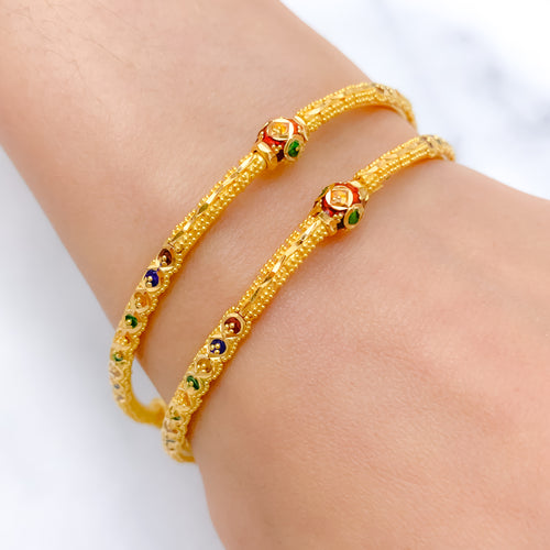 Elevated Lightweight Meena Pipe Bangle Pair