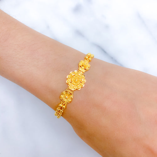 Charming Two Layered Flower Bracelet