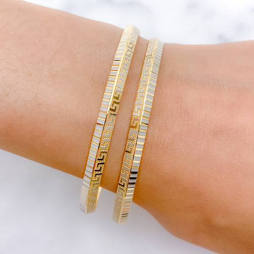 Contemporary + Lightweight Two-Tone Bangles