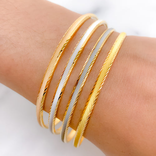 Elevated 4-Tone Bangle Set