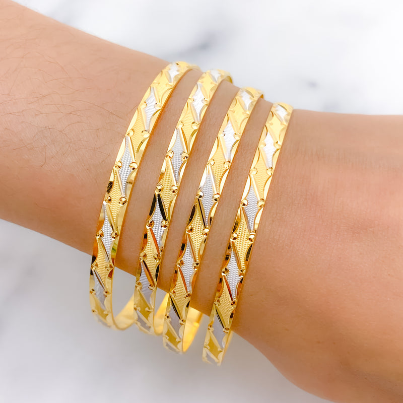Beautiful Alternating Two-Tone Bangles