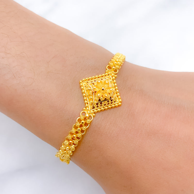 Flower Accented Square Bracelet