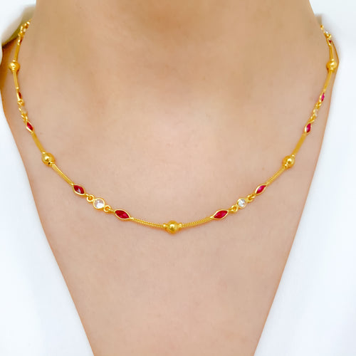 Classic Red Accent Necklace