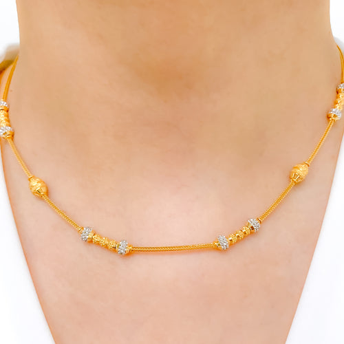 Fancy Two-Tone Beaded Necklace Set