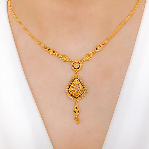 Meena Accented Stone Necklace Set